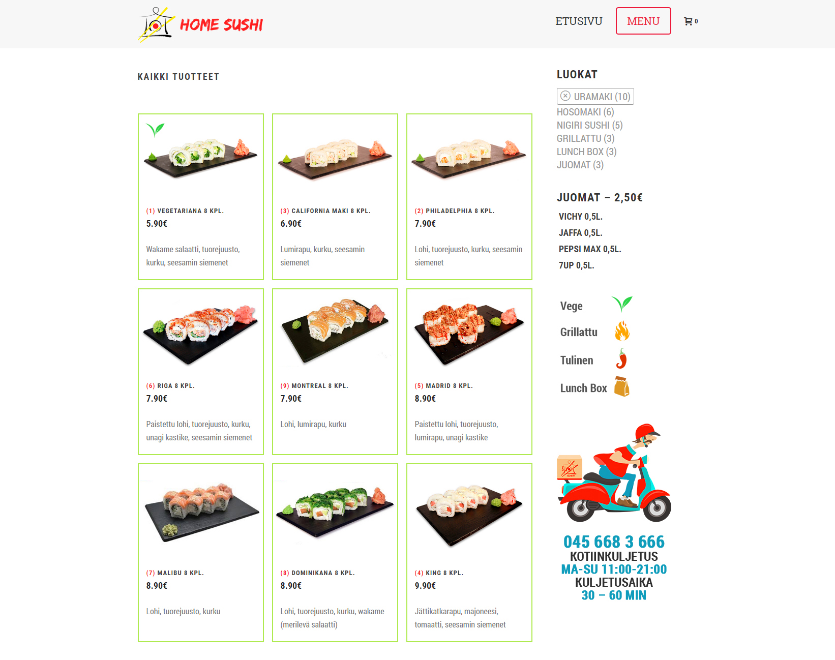Homesushi menu